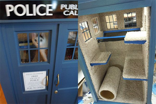 TARDIS Cat Fortress--too funny: Crafts Ideas, Geeky Things, Doctors Who, Tardis Cat, Cat Condos, Cat Trees, Dr. Who, Cat House, Scratch Posts