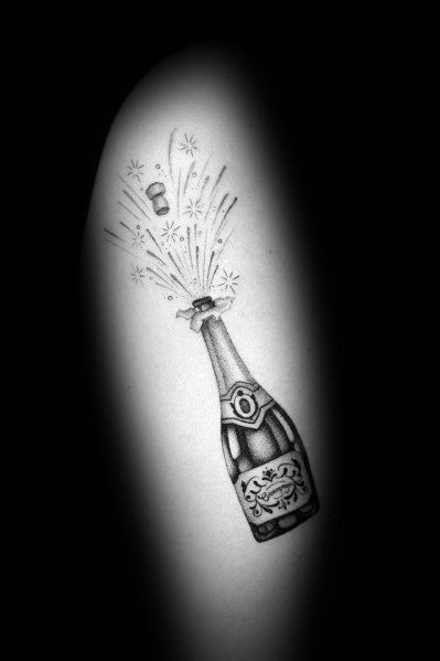 40 Champagne Tattoo Ideas For Men – Bottle And Glass Designs