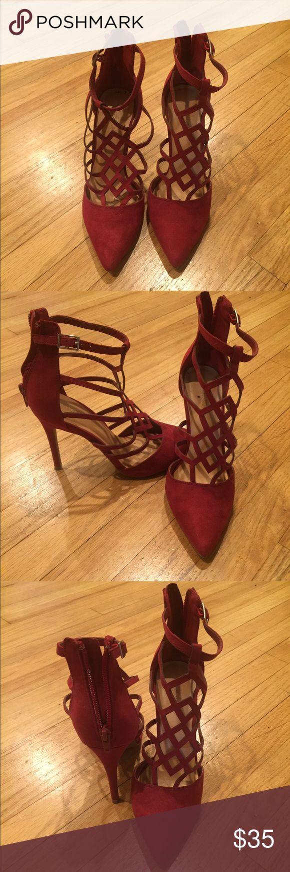 Elegant crimson evening heels. 3 inch heel. Elegant crimson evening heels. 3 inch heel. Good condition. Shoes Heels