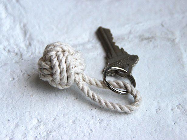 DIY Monkey Fist Knot Keychain >> http://blog.diynetwork.com/maderemade/2014/08/15/three-fast-and-easy-diy-keychain-ideas/?soc=pinterest
