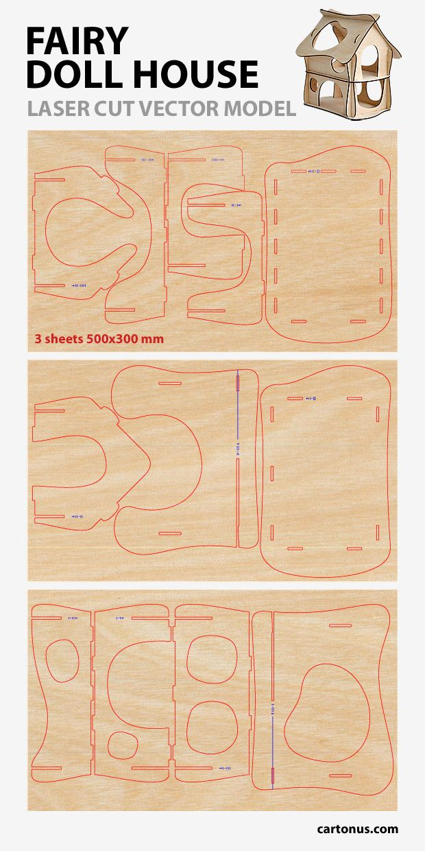 Wooden fairy doll house. Vector plan for laser cutter, cnc, lasercut, laser machine.  Vector plan preview