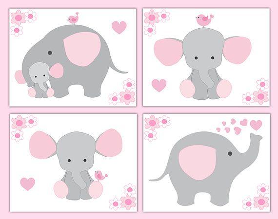 PINK GREY ELEPHANT Nursery Baby Girl Wall Art Prints Shower Gift Decorations Gray Room Decor Safari Jungle Animal Floral Childrens Bedroom #decampstudios