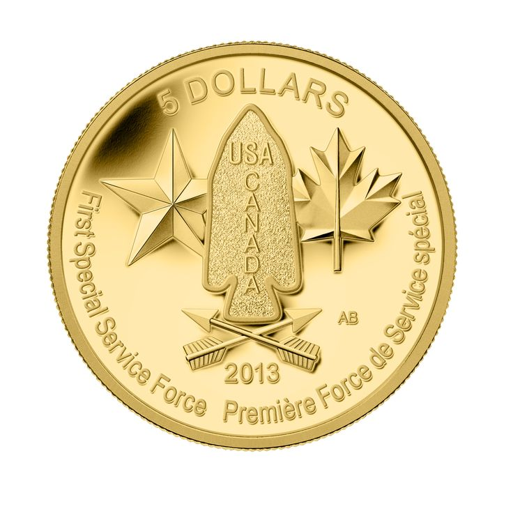 ¼ oz. Pure Gold Coin – Devil's Brigade (2013).  This coin commemorates a source of military pride for Canada and the U.S., the joint First Special Service Force.