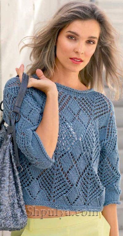 Пуловер из ажурных ромбов, вязаный спицами