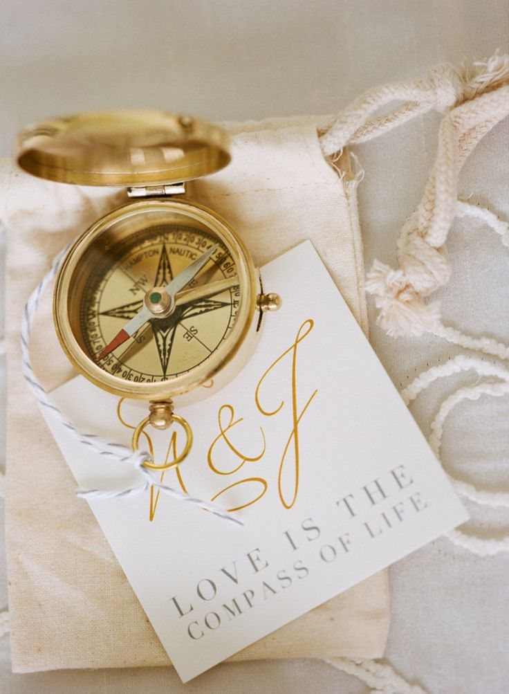 Compass bonbonniere for wedding guests or bridal party