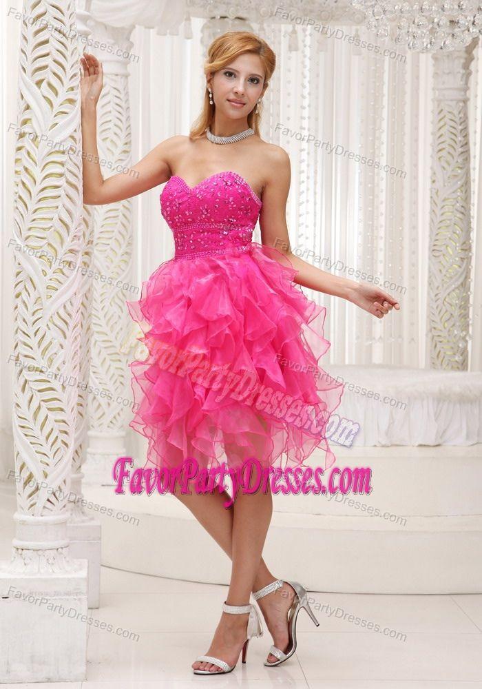 Glitz Sweetheart Beading Ruffled Hot Pink Organza Sweet 15 Party Dresses