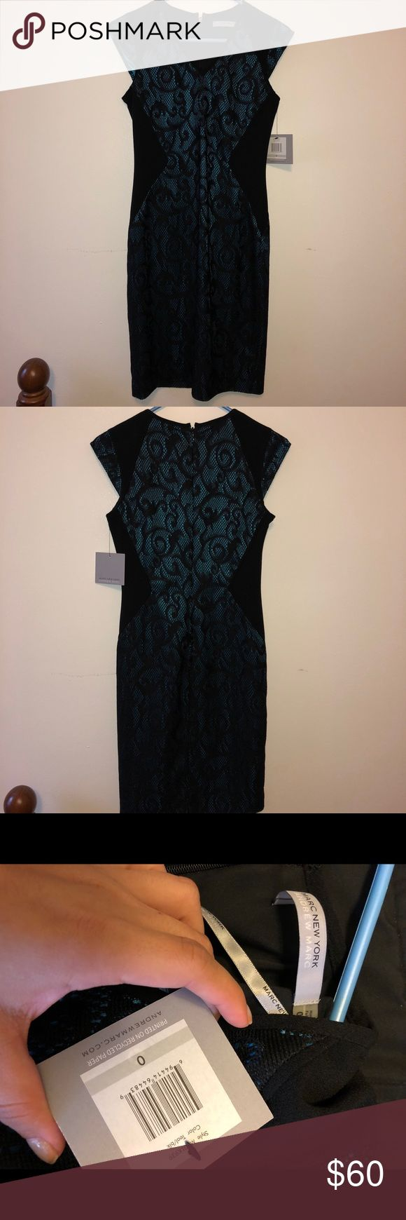 Marc New York Andrew Marc size 0 teal/black New with tags.Marc New York Andrew Marc teal/black short sleeved dress with a lacey design. Very flattering. Size 0 Andrew Marc Dresses Midi