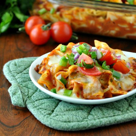 Fiesta Enchilada Pasta Casserole and Healthy Homemade Enchilada Sauce: this delicious freezer-friendly dinner can be made ahead and enjoyed all week long!