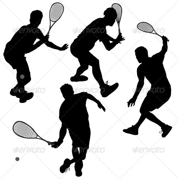 Squash Players Silhouette - Sports/Activity Conceptual