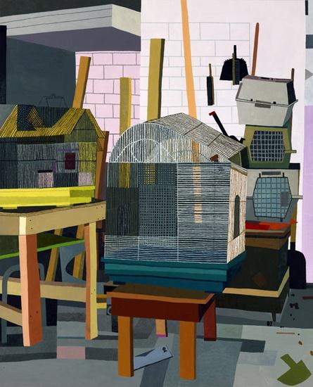 Jonas Wood. Bird Cages, 2010.  Oil and acrylic on linen.