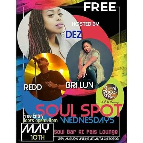 Good Morning! Today is the day. You better be at SoulBar tonight. Suprise Invited Guest the cast of KRHKR & mostly importantly.... Dez.  Its #FREE to get in.  Dez is one of the best female vocalist & vocal teachers in the ATLANTA area! If you missed her first showcase don't miss this one! Its a funky blue soul experience!  #Atlanta #Music #SoulBar #ArtistShowcase #Dez #Redd #BriLuv #AtlantaEvents #Vocalists #Musicians #LiveMusic #LiveShow