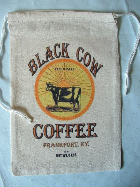 Novelty Coffee Sack Bag, BLACK COW Coffee, Frankfort, KY, collectable, framable, black cow bag