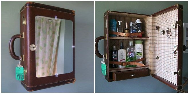 18 Incredibly Creative Repurposed Items - Vintage Luggage Medicine Cabinet Take grandpa's old suitcase, attach a mirror to it, stick it over the sink, and then sell it on Etsy for a million dollars! Vintage Suitcases, Vintage Luggage, Vintage Items, Repurposed Items, Repurposed Furniture, Diy Furniture, Old Luggage, Ideias Diy, Creative Storage