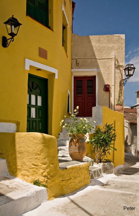 Colourful Houses in Ioulida Kea Island ,Tzia, Cyclades,Hellas, Greece,Travel,Summer