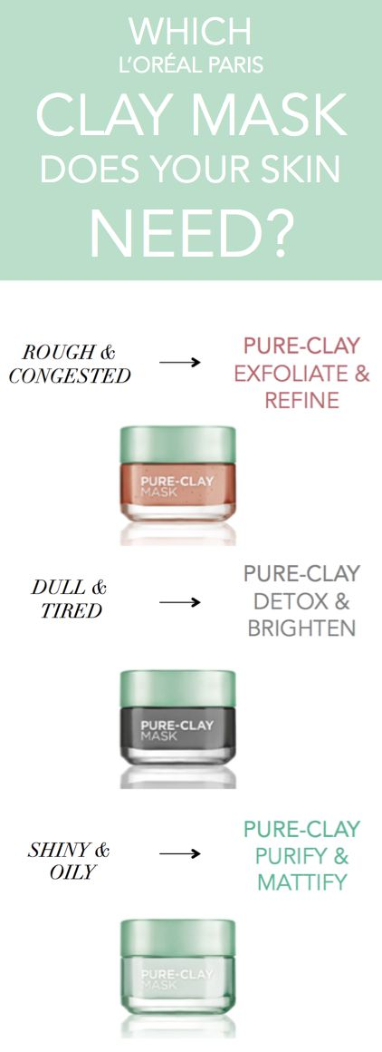 Introducing L'Oreal Paris Pure-Clay Masks - 3 new clay face masks to target different skin concerns, featuring red algae, black charcoal, and eucalyptus.