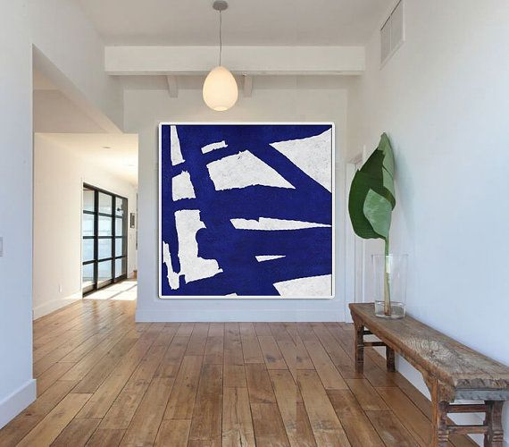 Hand Made Blue White Painting, Minimalist Abstract Art Canvas Art, Large Wall Art Home Decor, Acrylic Painting On Canvas - Celine Ziang Art