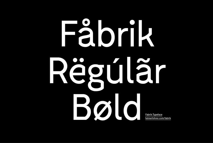 Fabrik is a slightly edged sans-serif typeface designed by Fabian Fohrer. The aim was to create a contemporary typeface with some unique letterforms, based on the principle of contrast. Fabrik is available in two styles — Regular and Bold.