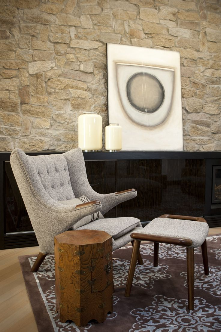 Informal living with Cotswold stone tiled to wall. Brooke Aitken Design