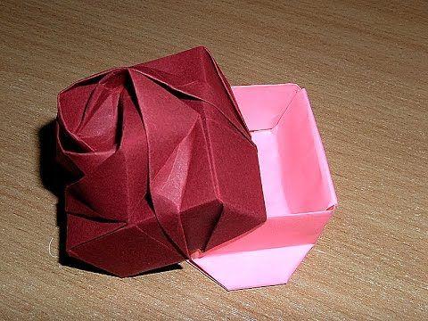 Origami box with rim Схема оригами коробки из бумаги.  Упаковка подарка. Коробочка с бортиком.