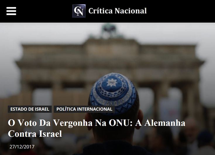 O Voto Da Vergonha Na ONU: A Alemanha Contra Israel: Qualquer um pode entender através do simples acompanhamento da política atual que republiquetas subdesenvolvidas dominadas por ideologias socialistas ou islâmicas, anões diplomáticos como o Brasil e paisecos que nunca conheceram o significado da palavra democracia, votem resoluções na ONU contra Israel. Fato, digamos, corriqueiro na atualidade... #CriticaNacional #TrueNews