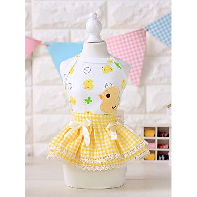 Dog+Dress+Dog+Clothes+Casual/Daily+Floral/Botanical+Blushing+Pink+Yellow+–+USD+$+6.99