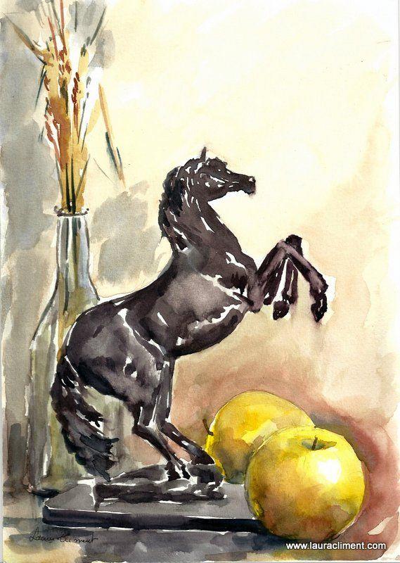Bronze horse. (Watercolor)