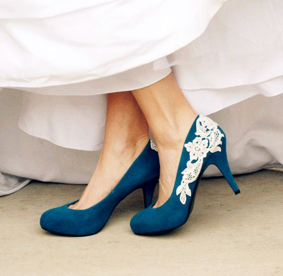 Teal Blue Wedding Heel With Venise Lace Applique