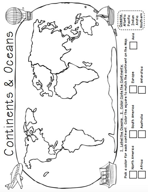 3rd Grade Continents And Oceans Worksheets - Kiddy Math
