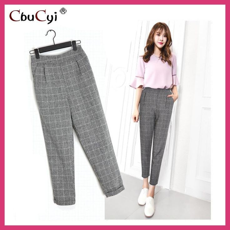 Plaid Haren Ankle-Length Pants high waist casual pants women summer pantalones de vestir mujer boho pants