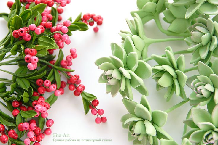 Polymer clay handmade succulents and berries