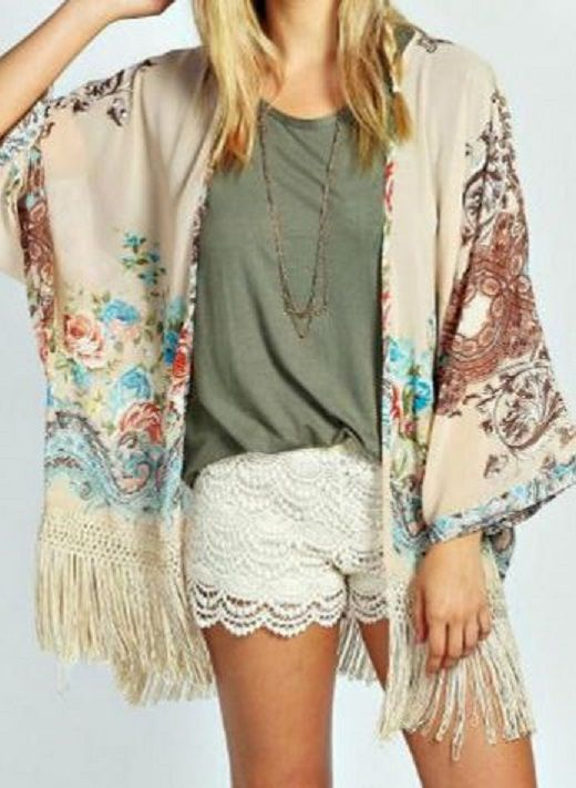 Looks I LOVE! Stylish Collarless Bohemian Style Floral Print Tassel Embellished Batwing Sleeve Blouse For Women #Bohemian #Boho #Summer #Fashion #Outfit #Ideas