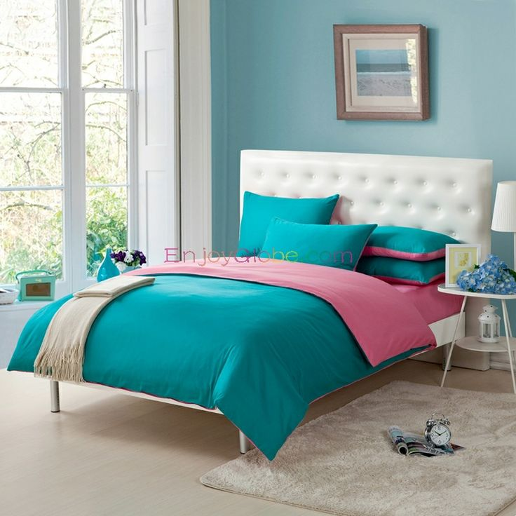pink and teal blue simply shabby chic full queen size girls bedroom cotton bedding sets