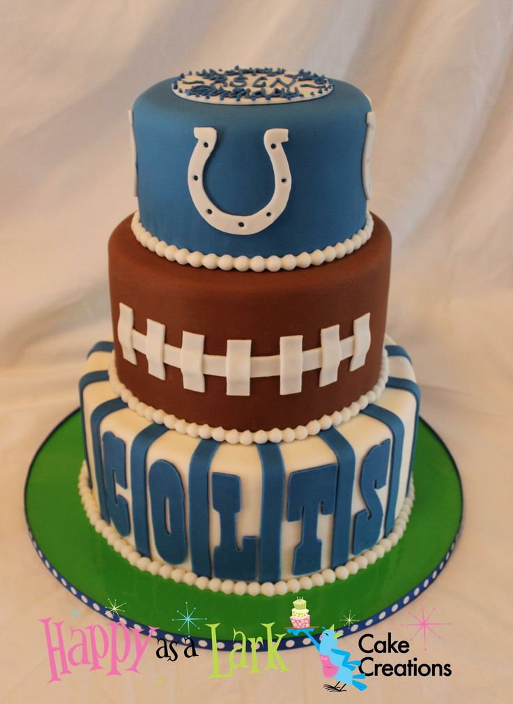 Colts themed football cake
