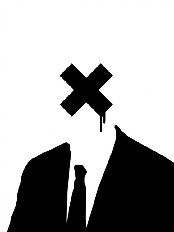 x for head businessman stencil