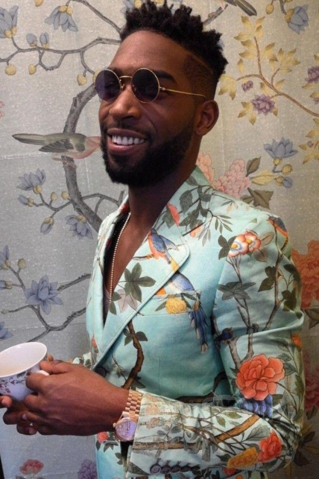Tinie Tempah wearing  Gucci Heritage floral print cotton jacket
