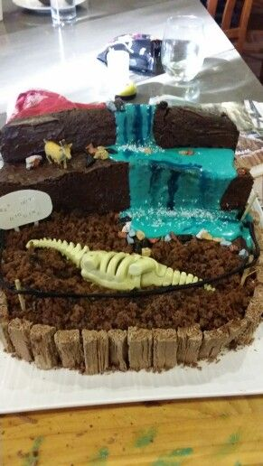 Dinosaur dig with waterfall cake - a very specific request from my son!