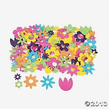 500 Fabulous Foam Self-Adhesive Flower Glitter Shapes