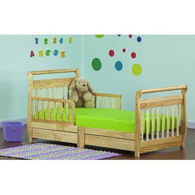 Dream On Me Toddler Sleigh Bed with Storage Finish: Natural