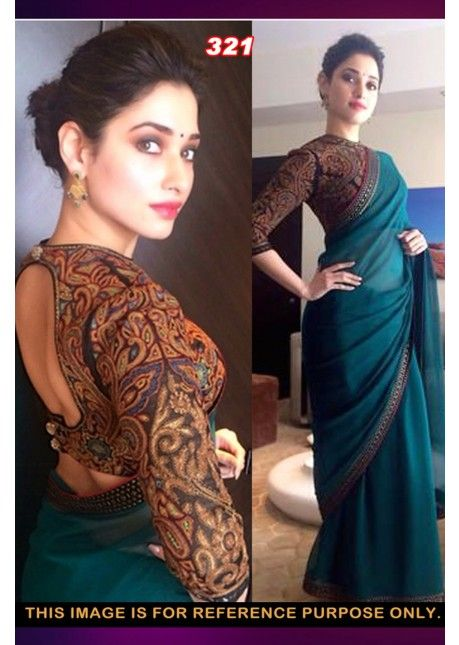 Tamanna Bhatia's Blue Colored Border Worked Chiffon #Saree - Bollywood Replica Sarees - By Style - #SAREES - #Women - Categories #сари #болливуд #индия