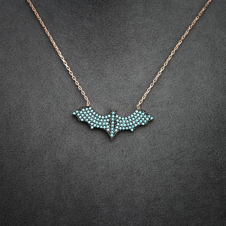 Black Friday Deal Womens Necklace, Rose gold plated 925 Silver Necklace, Batman Necklace, Superhero, Batman Jewelry, Batman Pendant by JuniperandEloise on Etsy