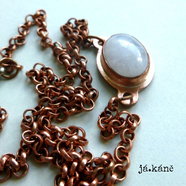 rainbow moonstone pendant necklace, copper jewelry by jakanestudio on Etsy