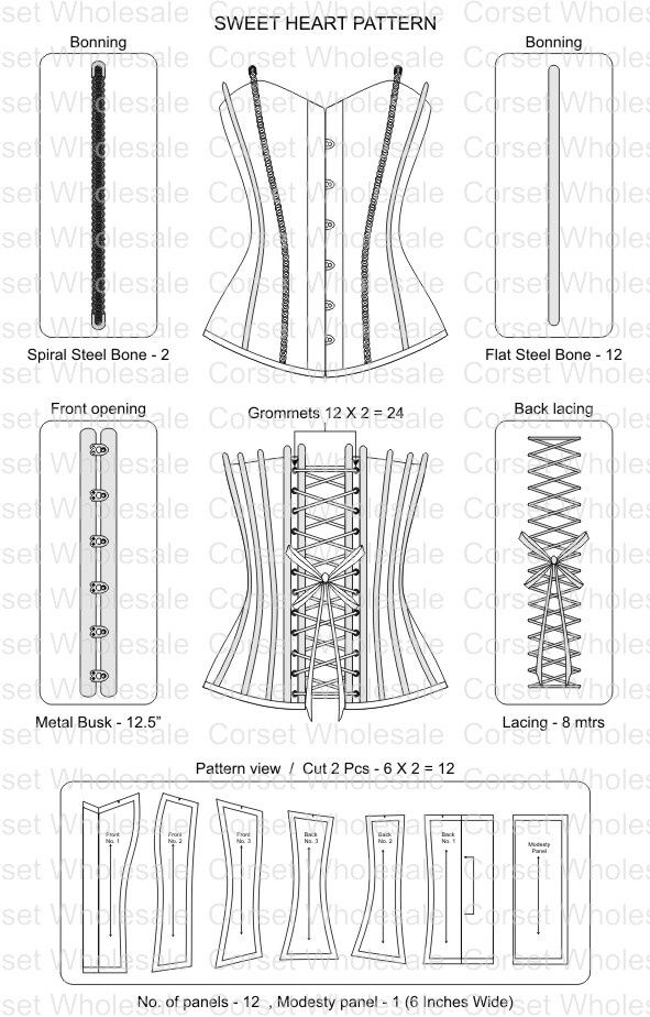 Corset pattern (591×924)                                                                                                                                                                                 More