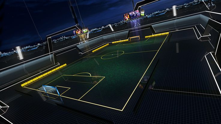 3d model of footballers glow stadium soccer football glow futuristic architecture abstract glare shine glass reflect ball game championship goal match