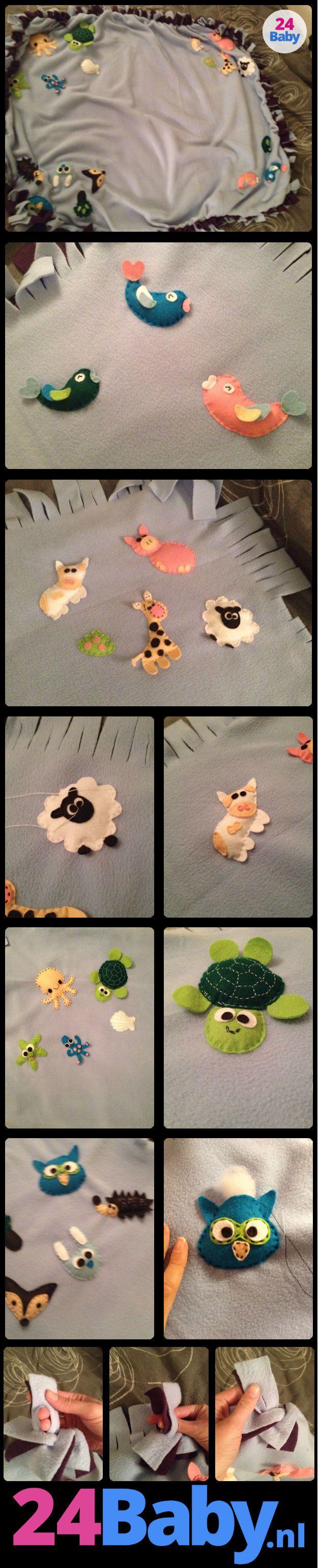 Dit babydekentje is gemaakt door 24Baby-lezeres Elisa voor haar pasgeboren nichtje Zoë. Met twee kleuren fleece, vilt, naald en draad heeft zij dit prachtige kunstwerkje gemaakt! www.24baby.nl