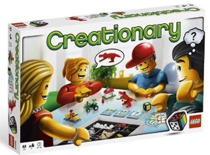 LEGO Creationary - Roll the LEGO dice to select one of four exciting building categories: vehicles, buildings, nature, or things. With three levels of difficulty you can show off your building skills, while the others guess what you are creating.