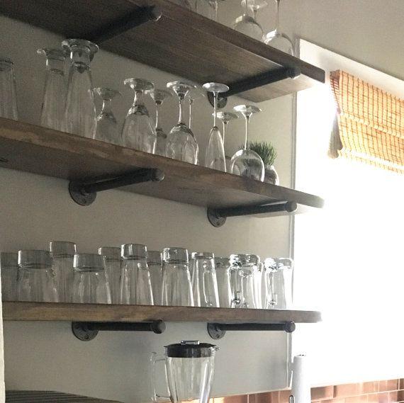 "Extra Kitchen Shelves: Extra Long Rustic 10"" Deep Kitchen Floating Shelf"