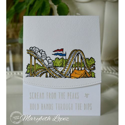 Serendipity Stamps Roller Coaster Cling Stamp Set and Pretty Pink Posh border die.  Scream from the Peaks!