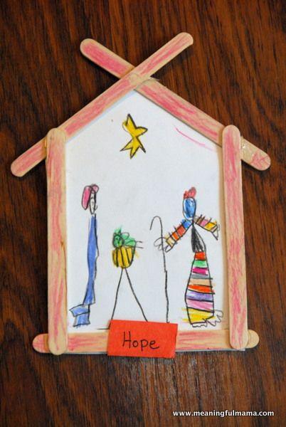 Nativity Christmas Kid Craft that Teaches Hope (Ijslolliestokjes zijn verkrijgbaar in de webwinkel van Credu.nl)