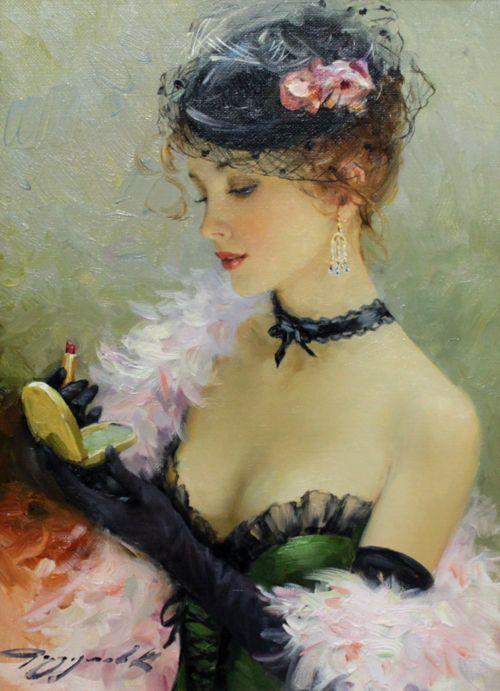 Konstantin Razumov, Le rouge à lèvre, I'd want this painting in mybdressing room
