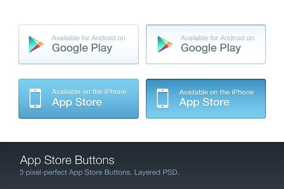 App Store Buttons (PSD) by Cole Bemis on @creativemarket